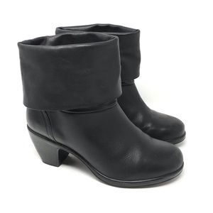 Dansko Bobbi Roll Down Black Leather Boots 38 US 8